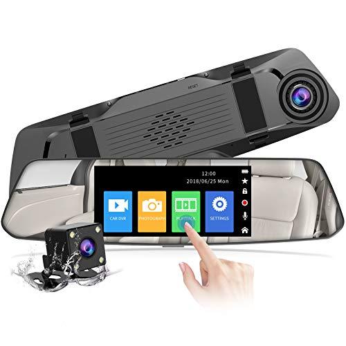 CHORTAU Mirror Dash Cam 4.8 Inches Touch Screen