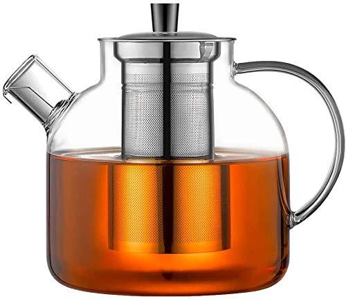 Ehugos Glass Teapot, 1500ml Stovetop Safe Tea Kettle with Infuser Borosilicate Glass Water Jug Clear Tea Pot Maker for Loose Leaf Tea, Hot/Iced Water, Juice Beverage