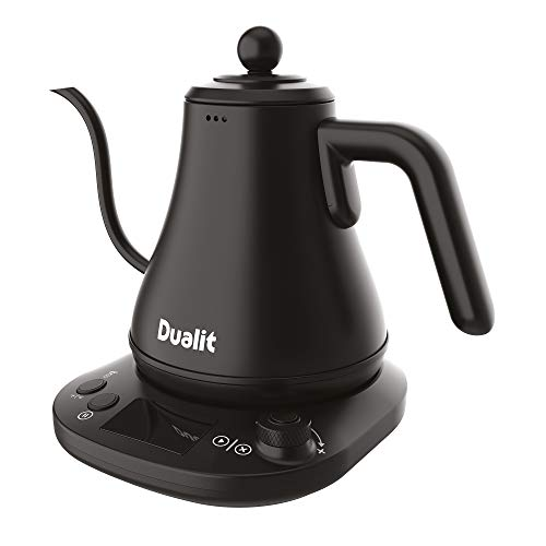 Dualit Pour Over Fast Boil Electric Kettle - Matt Black -Gooseneck Precision Spout - Digital Display Screen - Highly Energy Efficient 800ml Capacity - 72750