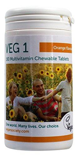 VEG1 Vegan Multivitamin Chewable Tabs - Orange 180tabs (PACK OF 1)