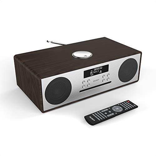 Majority Oakington DAB/DAB+ Digital FM Radio Bluetooth Wireless CD Player Micro Compact Hi-Fi Stereo Speaker System - Remote Control - USB Charging & MP3 Playback (Walnut)