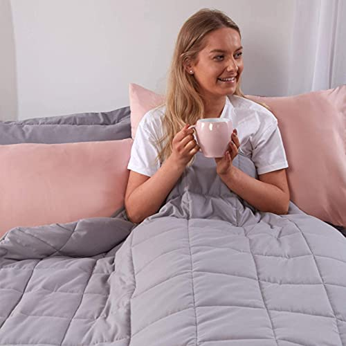Brentfords Weighted Blanket 8kg for Adults Therapy Anti Anxiety Autism Insomnia Stress Relief, King Size - Silver Grey - 150 x 200cm