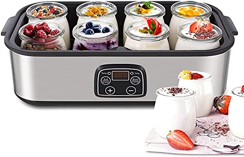 Yoghurt Maker Machine, Yogurt Maker with 8 Jars x 180ml, Stainless Steel Machine with LED Display, Adjustable Thermostat and Timer, Homemade Yogurt and Cheese Maker, Silver