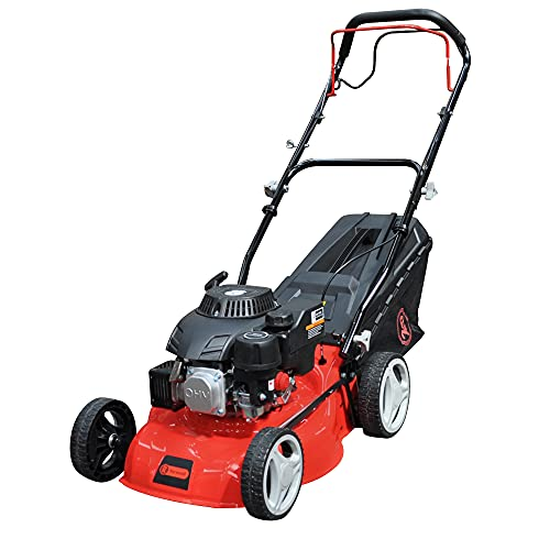 RocwooD Petrol Lawnmower SELF PROPELLED 41cm 410mm 17' Cutting Width 132cc OHV Engine Mower Foldable Handles 45 Litre Grass Collector 2 Year Warranty Red Plus FREE Oil