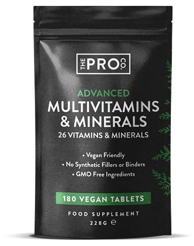 High Strength Multivitamin Tablets - PETA Approved Vegan Multivitamins - 6 Month Supply - Multivitamin Tablets for Men & Women with 26 Active Vitamins & Minerals - Made in The UK by The Pro Co.