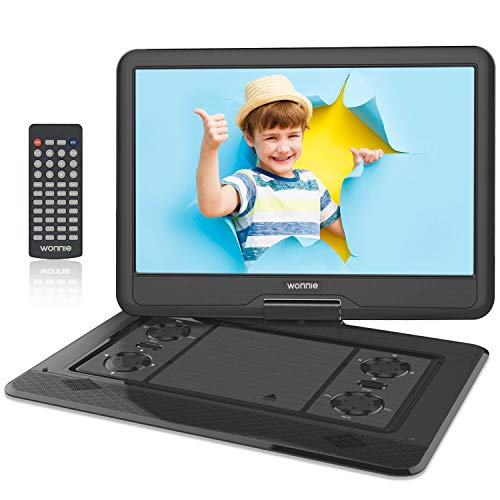 WONNIE 17.5' Portable DVD Player with 15.6 Inch Large Swivel Screen 1366x768 HD, Built-in 6 Hours Rechargeable Battery, Stereo Sound, Regions Free, USB/SD/AV Out & IN