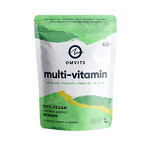 Vegan Multivitamins & Minerals - With High Strength Vitamin B12, D3, K2 & Iron - 180 Tablets in 100% Plastic-free Packaging - 6 Month Supply - Advanced Supplement for Men & Women - Palm Oil & GMO Free
