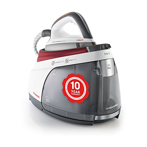Polti La Vaporella XM80C, Steam generator iron with boiler, 7 bar, no maintenance, 10 year warranty on the boiler against limescale attacks*, unlimited autonomy, steam pulse 450g, Red