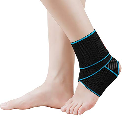 KGONE Adjustable Ankle Support, Ankle Brace Breathable Nylon Elastic Material Ankle Wrap for Sports, Joint Pain, Sprains Fatigue etc, One Size Fits All