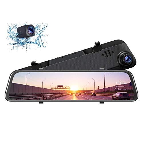 TOGUARD 12 inch 2.5K Mirror Dash Cam GPS Voice Control