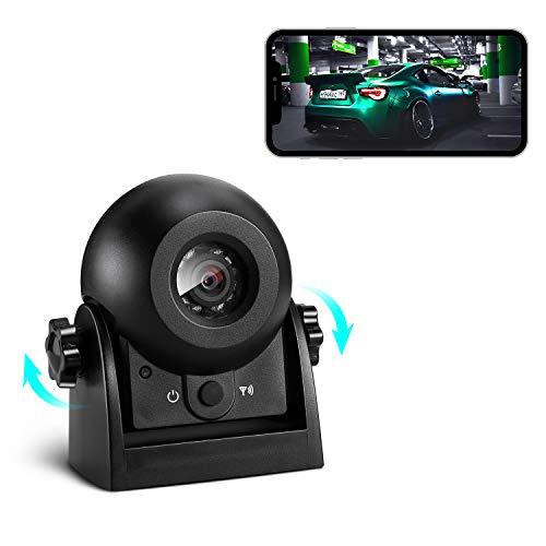 Reversing Camera Wireless, WiFi Backup Camera Magnetic Super Night Vision / IP68 Waterproof Rear View Camera Parking Camera Hitch Camera Compatible with Android & iOS for Car Truck, RV, Van, Trailer