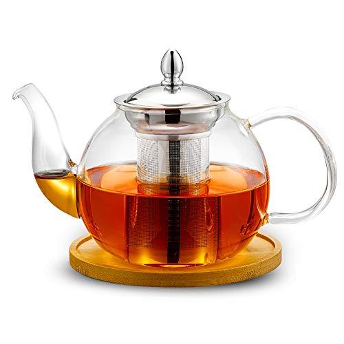 ROIMTEA Glass Teapot Kettle 1200ml/40oz with Wood Coasters for Teapot & Infuser, Stovetop Safe & Microwave Safe Tea Pot Maker Set, Removable Stainless Steel Infuser for Loose Leaf Tea & Blooming Tea