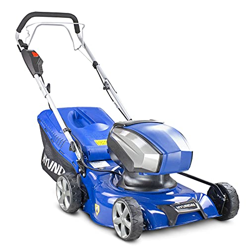 Hyundai 40v Lithium-ion Cordless Battery Powered Self Propelled Lawnmower, 42cm Cutting Width, Includes Battery & Charger, 3 Year Warranty, Blue
