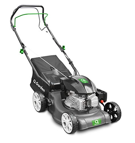Q Garden QG40-145SP Self Propelled 4 Wheel Petrol Lawnmower with 7 Cutting Heights, Small To Medium Lawns, 40cm Cutting Width and 45L Collection Bag - 1 Year Guarantee