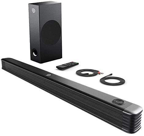 BOMAKER 150W Sound Bars, 2.1 CH Soundbar with Wireless Subwoofer for TV, Deep Bass, 130dB Surround Sound for 4K & Smart TV, Home Theater, Wall Mountable, Optical Input, RCA Cable Included