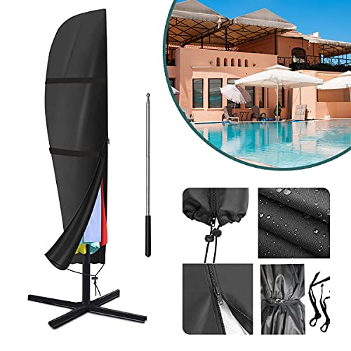 Raword Parasol Cover, 420D Oxford Fabric Waterproof Parasol Cantilever Umbrella Cover with Zipper Used for 9ft to 11ft Garden Outdoor Umbrella - Black