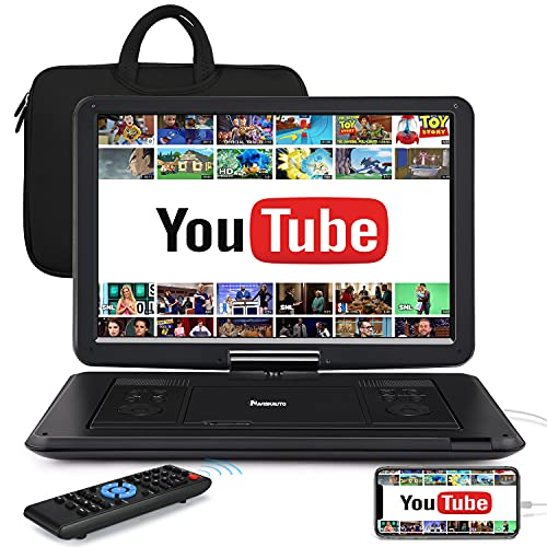 """HDMI 17.5"""" Portable DVD Player with 15.6"""" Large Screen, 6 Hours Battery, 1080P MP4 Video, Sync TV/Smart Phone, USB, Stereo Sound, Includes Carry Bag and Remote Control - NAVISKAUTO"""