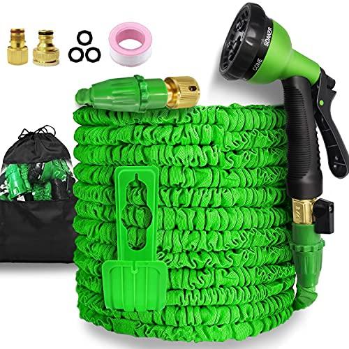 Garden Hose-50ft Expandable Hose - Heavy Duty Flexible Leakproof Hose - 8-Pattern High-Pressure Water Spray Nozzle & Bag & Plastic Holder.No Kink Tangle-Free Pocket Water Hose (50FT)