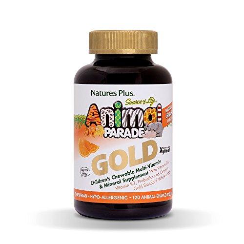 NaturesPlus Animal Parade Source of Life Gold Children's Multivitamin & Mineral Supplement - Orange Flavour - Chewable Animal Shaped Tablets - Whole Foods, Gluten Free (Orange, 120)