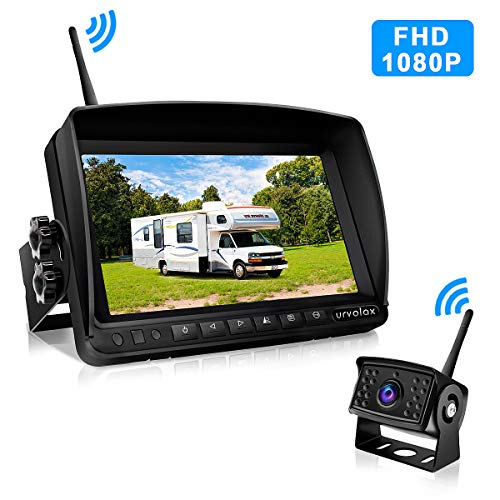 URVOLAX Wireless Reversing Camera Digital Van Reverse Camera Kit,7''Monitor and Parking Camera IP69 Waterproof Rear View Camera,1080P HD Night Vision 170° Wide Angle fit Caravan Trailer Trucks Cars