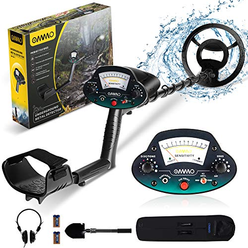 OMMO Metal Detector for Adults, Ajustable Lightweight Metal Detectors for Child, 10 inch Waterproof Coil, High Sensitivity, All Metal/Discrimination/Pinpoint Mode, with Headphone/Shovel/Bag/Batteries