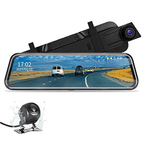 Jansite Mirror Dash Cam, 10 inch Dual Lens Camera