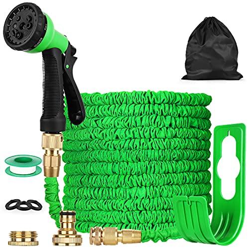CKK Expandable Garden Hose, 150 Feet Garden Hose, Garden Hose with 7 Function Nozzles, Durable Leak-Proof Light Telescopic Hose, Hose Reel, Water Magic Hose for Pets in The Garden Outdoor Lawn