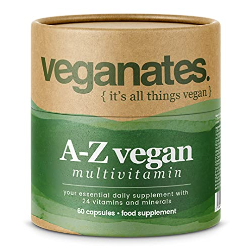 Vegan Multivitamin Supplement with Iodine, B12, D3, K2, C, Iron and Zinc 100% Plastic Free Biodegradable Tub. 24 Vitamins and Minerals Made in The UK by Veganates