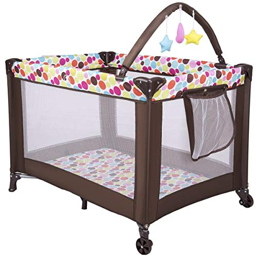 GYMAX Travel Cot & Baby Playpen