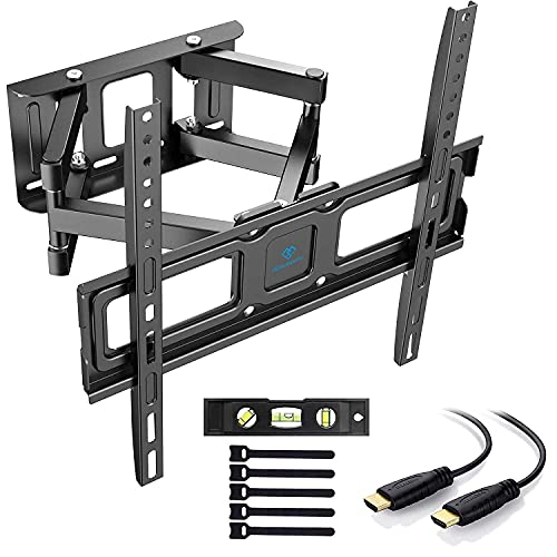 PERLESMITH TV Wall Mount, Swivelling / Tilting Wall Mount for 32 - 55 Inch Flat & Curved TV or Monitor up to 45 kg, Max. VESA 400 x 400 mm