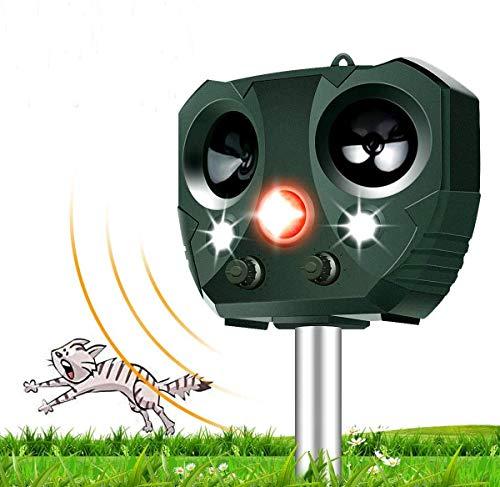 vonivi 2020 Cat Repellent, Ultrasonic Animal Repeller Fox Deterrent Solar Rechargeable Battery Operated Cat Scarer Repellent for Gardens