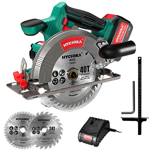 Circular Saw, HYCHIKA 18V Cordless Circular Saw with 4.0Ah Li-Ionen Battery,4000RPM Max Cutting Depth:90º (53mm)/45º (36mm),2 Saw Blades (24T/40T),Parallel Guide, Ideal for Wood, Plastic, Soft Metal