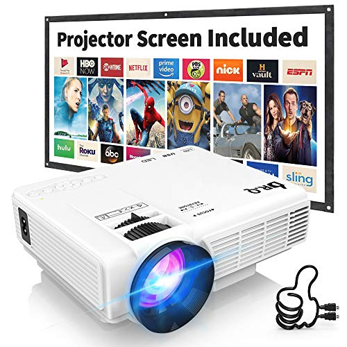 DR. Q HI-04 Projector with Projection Screen 1080P Full HD Supported, Upgraded 6500 Lux Video Projector Compatible with TV Stick PS4 HDMI USB AV.