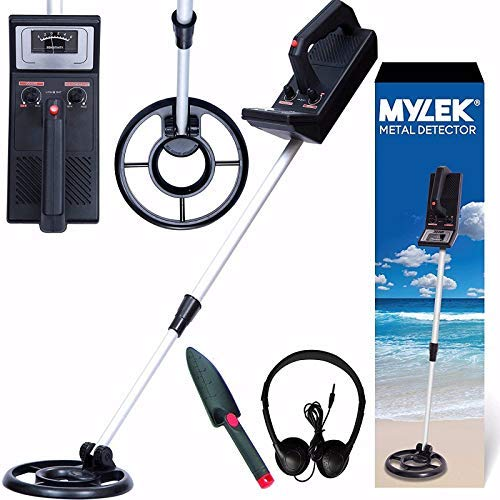 MYLEK Metal Detector Kit Height Adjustable With Waterproof Search Coil - Detects All Gold, Silver, Non-Ferrous Metals, Treasure, Lightweight With Headphones And Shovel, Kids Adults Beginners