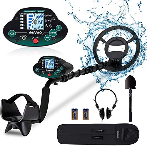 OMMO Metal Detector for Adults/Kids - High Sensitivity Waterproof Outdoor Metal Finder - Great Depth with 10 inch Search Coil, Backlit LCD, Discrimination Mode - Headphone Shovel Batteries Included