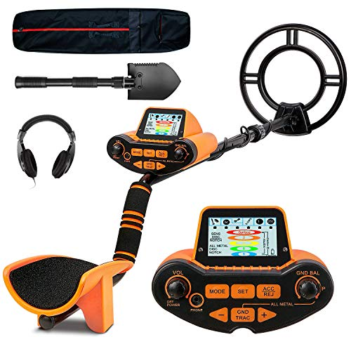 SUNPOW Professional Metal Detector for Adults, Adjustable Ground Balance, Disc & Notch & Pinpoint Modes, Upgraded DSP Chip, Multiple Audio Prompts with Headphones