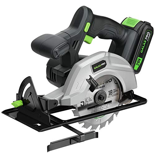 GALAX PRO 140mm Cordless Circular Saw 20V with 2 Blades (18T+48T), 3800RPM Variable Speed, Includes 2.0Ah Lithium Battery and Charger, Max Cutting Depth 41mm(90°), 36mm(45°)