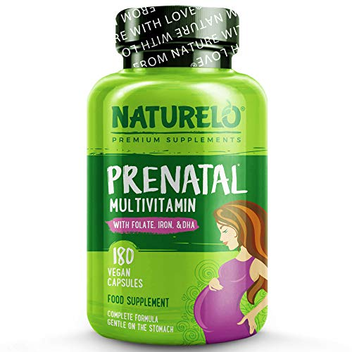NATURELO Prenatal Whole Food Vegan Multivitamin - with Natural folate, Iron & DHA