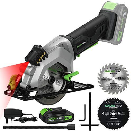 GALAX PRO Circular Saw, 20V 3400RPM Professional Cordless Circular Saw, Adjustable angle and depth,Max Cutting Depth 42.8mm ( 90°), 28mm( 45°),Laser Guide,Blade 115mm