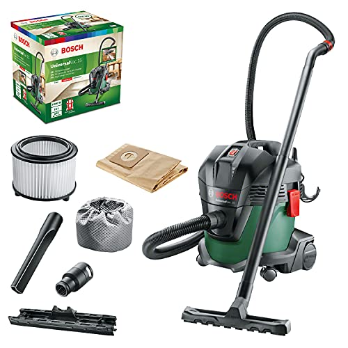 Bosch 06033D1170 UniversalVac 15 Wet and Dry Vacuum Cleaner with Blowing Function, Green, 15 L