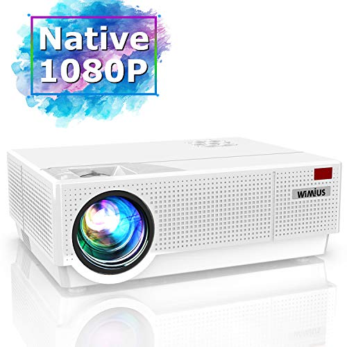 Projector, WiMiUS 6800 1920x 1080P Native Full HD Video Projector, ±50° 4D Digital Keystone Correction Support 4K 300'' LCD LED Projector Compatible with Smartphone,PC,TV Box,PS4