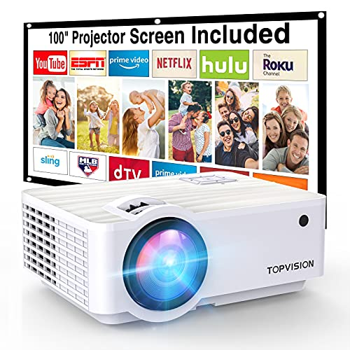 """Projector, TOPVISION 6000L Mini projector with 100"""" Projector Screen, 1080 Supported 240' Outdoor projector,Built in HI-FI Speakers, Compatible with Fire Stick, HDMI, VGA, USB, TF, AV, PS4"""