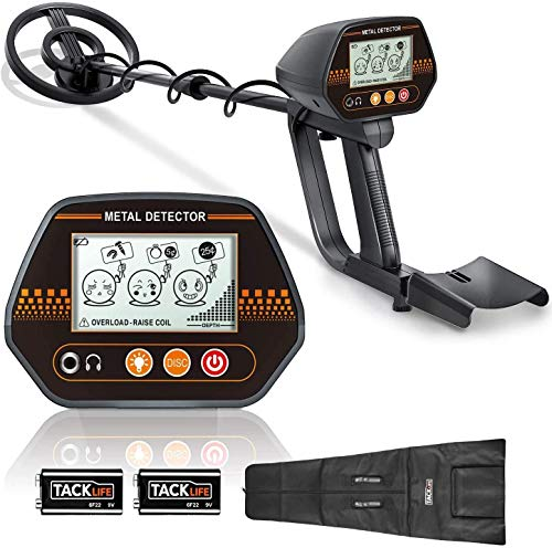 Metal Detector,2 Batteries,3 Audio Tone & DISC Modes Adjustable Metal Finder(61-90 cm) for Kids and Adults with Larger LCD Display,20cm Big Waterproof Coil,Carrying Bag - TACKLIFE MMD02