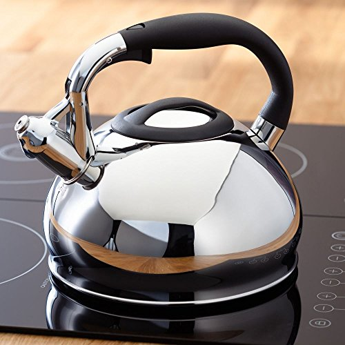 Judge JQ04 Large Stovetop Whistling Kettle 3L for Gas Stove or Induction Hob Stainless Steel - 25 Year Guarantee