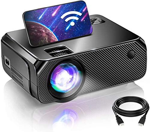 BOMAKER WiFi Projector, 2021 Upgraded Portable Movie Projector, Full HD Native 720P Wireless Outdoor Gaming Projector, 250'' Display for iOS / Android / Laptops / PCs