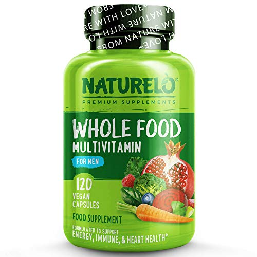 NATURELO Whole Food Multivitamin for Men - with Natural Vitamins, Minerals, Botanical Blends - Complete Formula to Help Support Energy, Brain, Heart, Eye Health - 120 Vegan Capsules | 1 Month Supply
