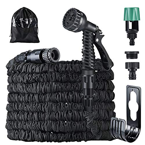 Running Bulls Hose Expandable Garden Hose 25ft with Mix-tap Hose connect,Flexible Hosepipe with 7 Function Spray Nozzle/for gardens, patios,windows(black)