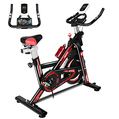 Gywowken Exercise Bike, Indoor Cycling Bike, Stationary Bicycle, Quiet Belt Drive Flywheel with LCD Monitor & Phone Holder & Professional Comfortable Seat for Home Workout Cardio Training