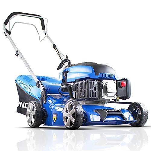 Hyundai 43cm OHV 4-Stroke 139cc Petrol Lawn Mower, Self Propelled Petrol lawn Mower, 3 Year Warranty, Quick Release 45L Grass Bag, Lightweight Petrol Lawnmower, 6 Cutting Heights, Easy Storage, Blue