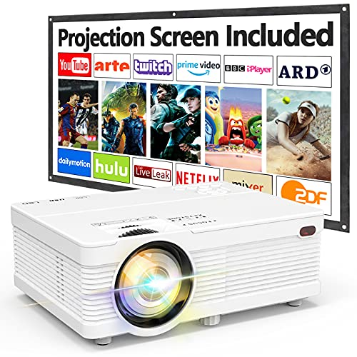 AK-81 Projector with Projection Screen 1080P Full HD Supported, 7000 Lumens Mini Outdoor Projector, Video Projector Compatible with TV Stick Smartphone PS4 HDMI USB AV, Home Theater Projector, White.
